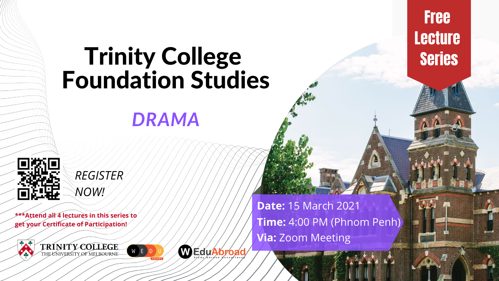 Trinity College Foundation Studies FREE Lecture Series Drama