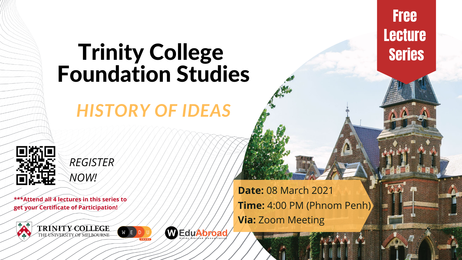 Trinity College Foundation Studies FREE Lecture Series History of Ideas