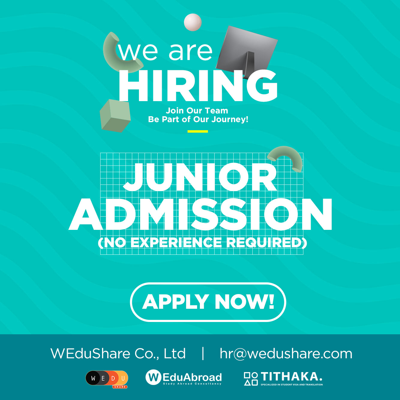 We are hiring Junior Study Abroad Admission