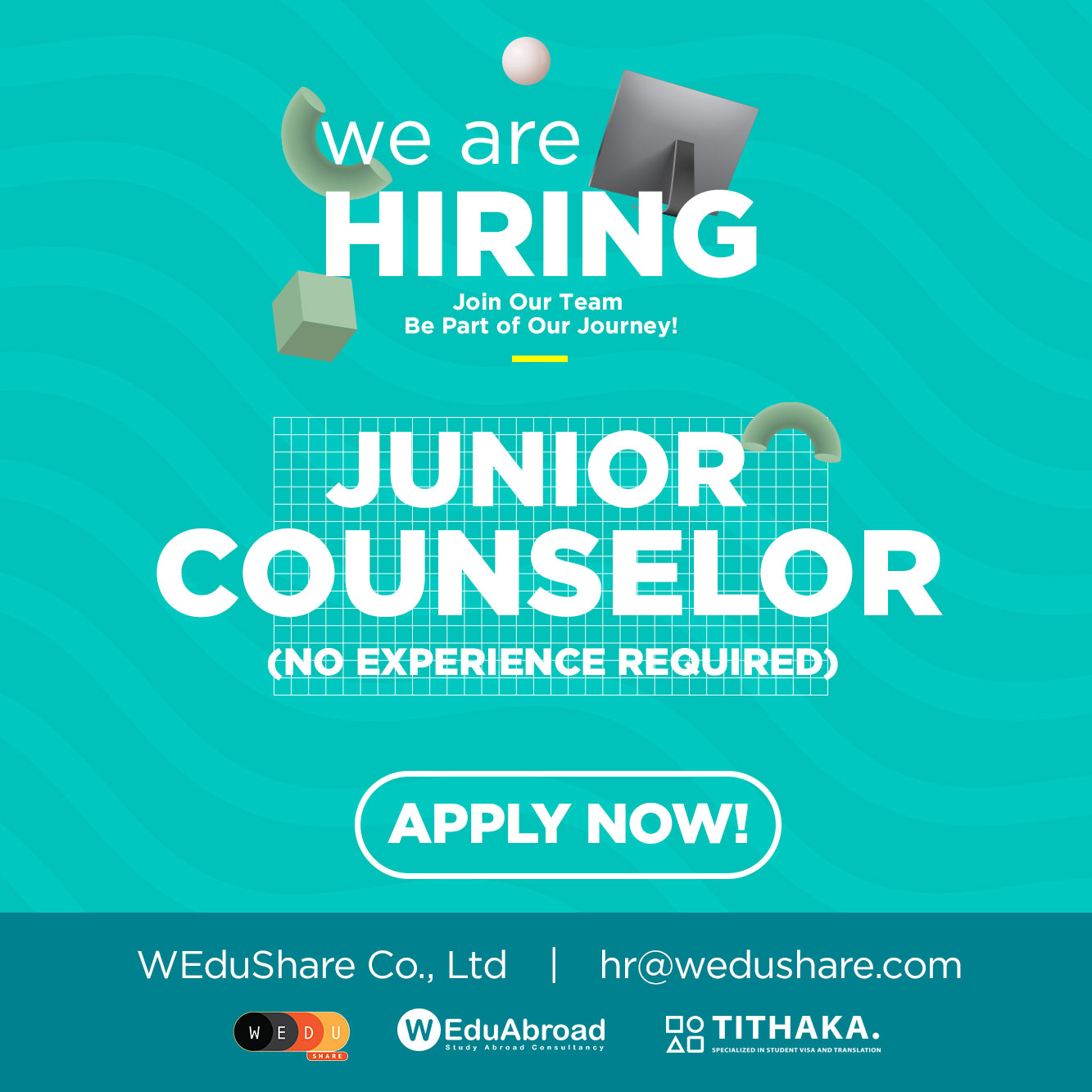 We are hiring Study Abroad Junior Counselor